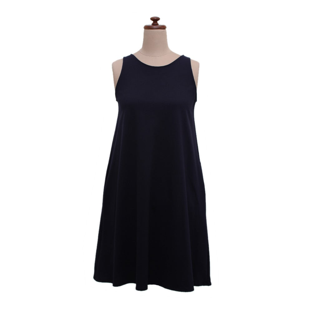 Image of Navy Knit Short Swing Dress