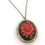 Image of Red Rose Cameo Locket Necklace