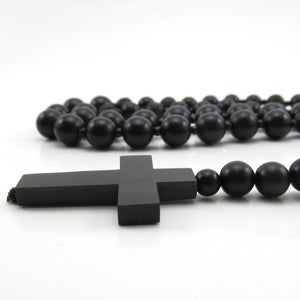 Image of Black Matt onyx beaded rosary necklace
