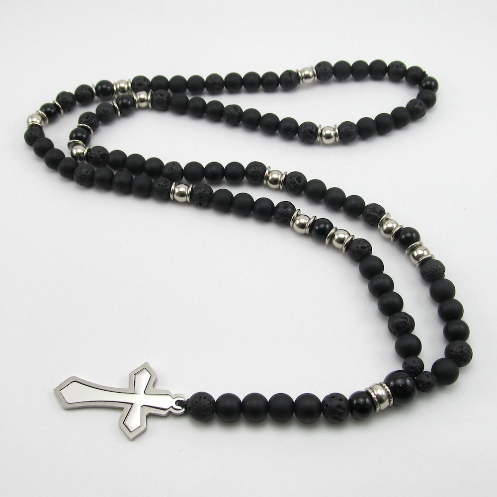Image of Black Matt hematite and stainless steel cross rosary