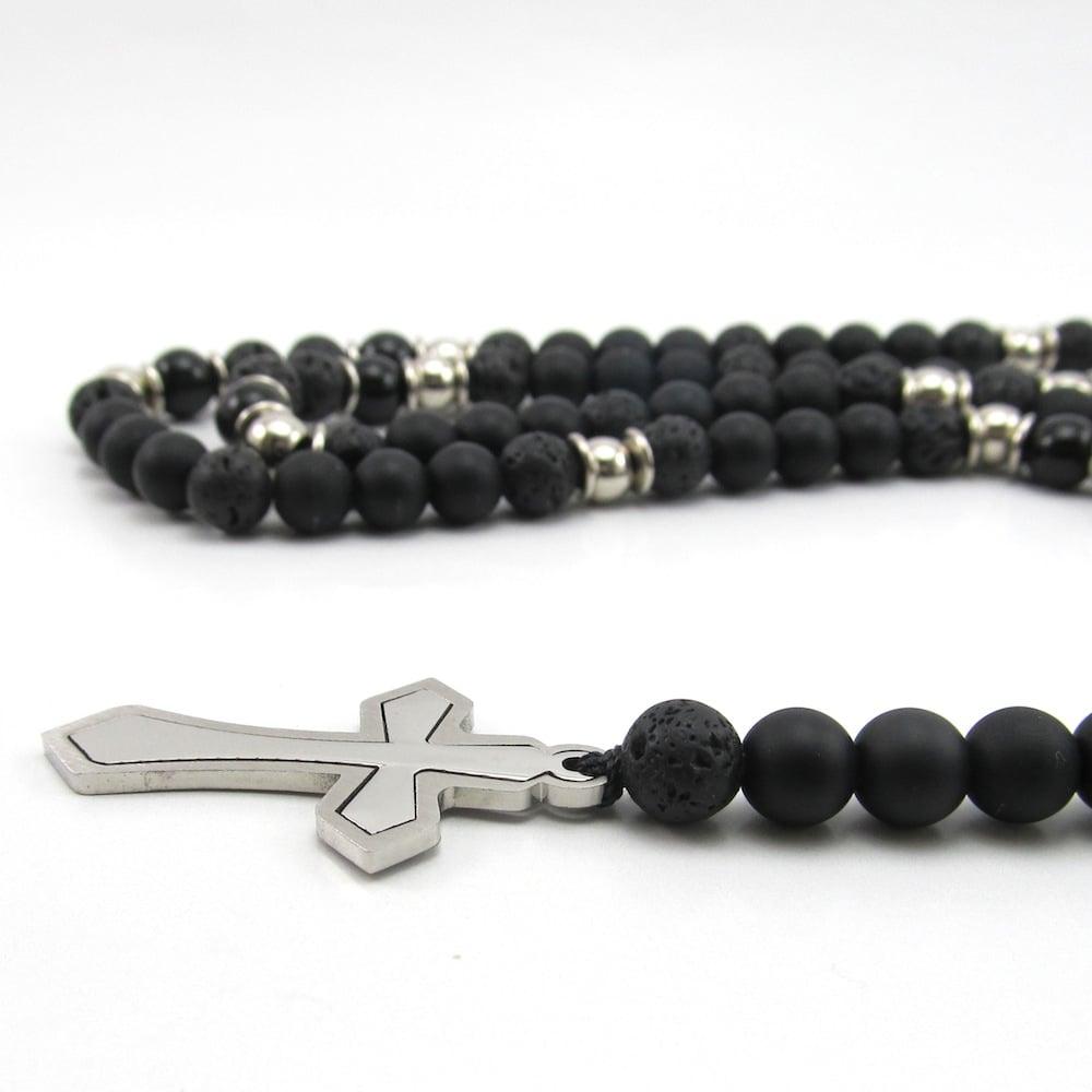 Image of Black Matt hematite and stainless steel cross rosary