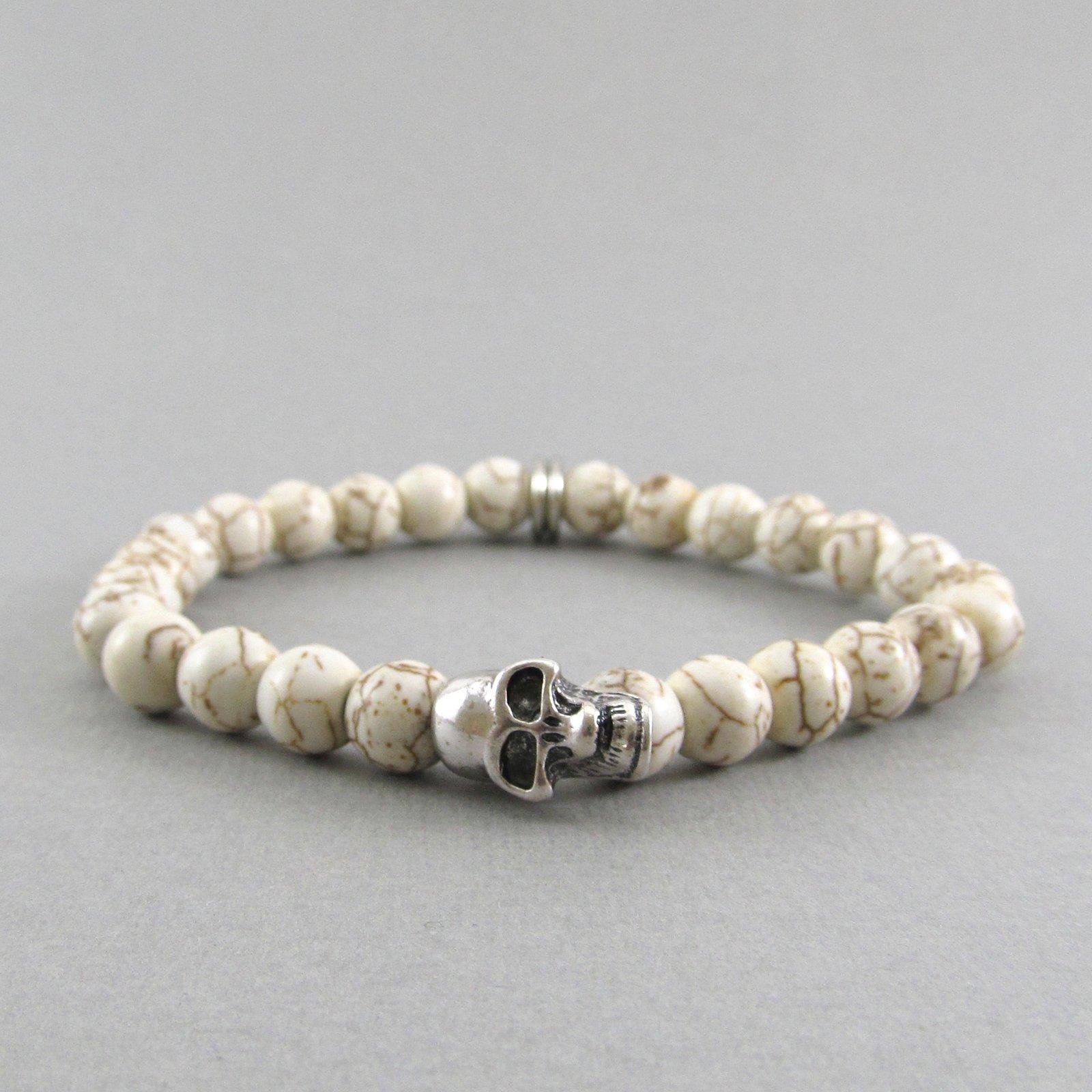 White Howlite And Skull Beaded Bracelet