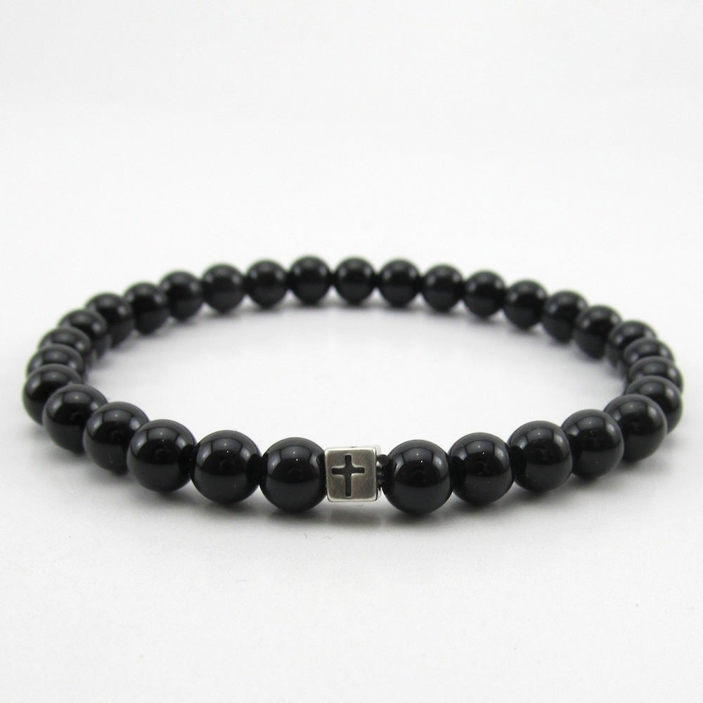 Image of Black Agate and sterling silver cross bead bracelet
