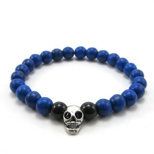 Image of Blue howlite and skull beaded bracelet