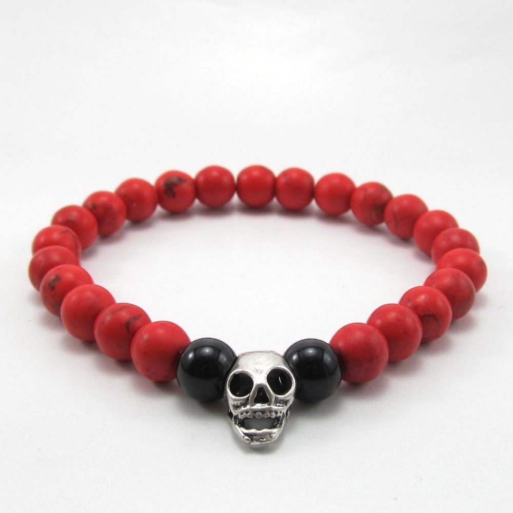 Image of Red howlite and skull beaded bracelet