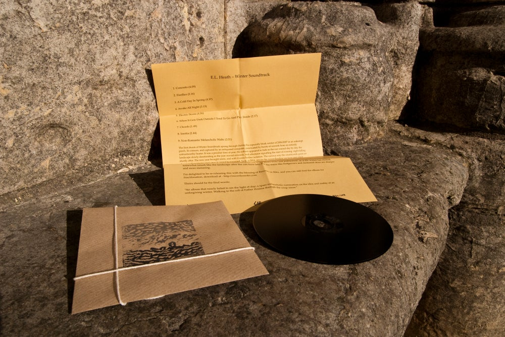 """Image of E.L. Heath - Winter Soundtrack (Remastered) 5"""" Pitch Black CD in Hand-Stamped Sleeve (pw003)"""