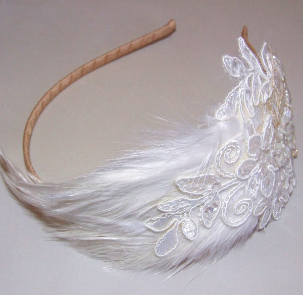 Primrose - Feather and Lace Bridal Headpiece - Laura Pettifar Designs
