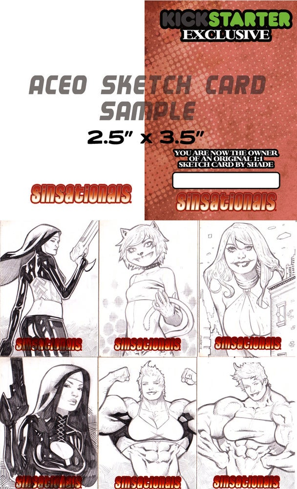 Image of Sinsationals ACEO Hand-Drawn Sketch Card Commission FREE SHIPPING!