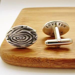 Image of Silver Woodgrain Secret Message Cufflinks