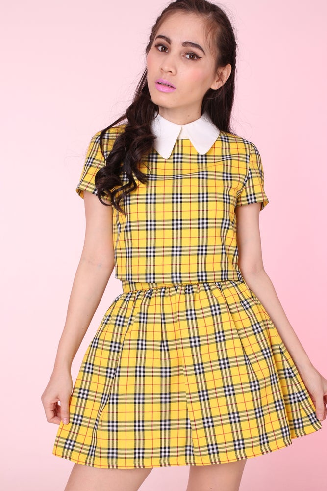 Image of MADE TO ORDER - Yellow Tartan Clueless Set (top and skirt)