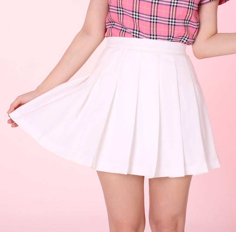 Image of Made To Order - White Cheer Mini Skirt