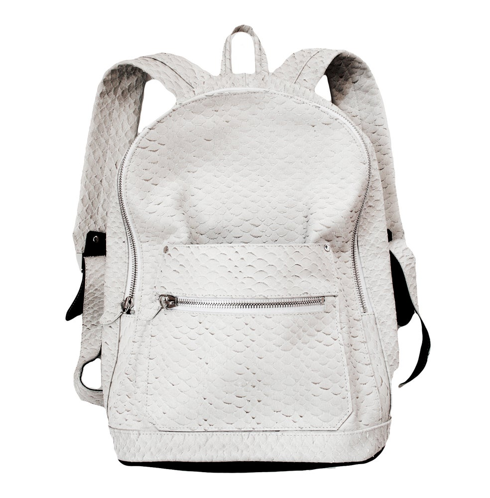 Image of White Python Effect Collegiate Backpack