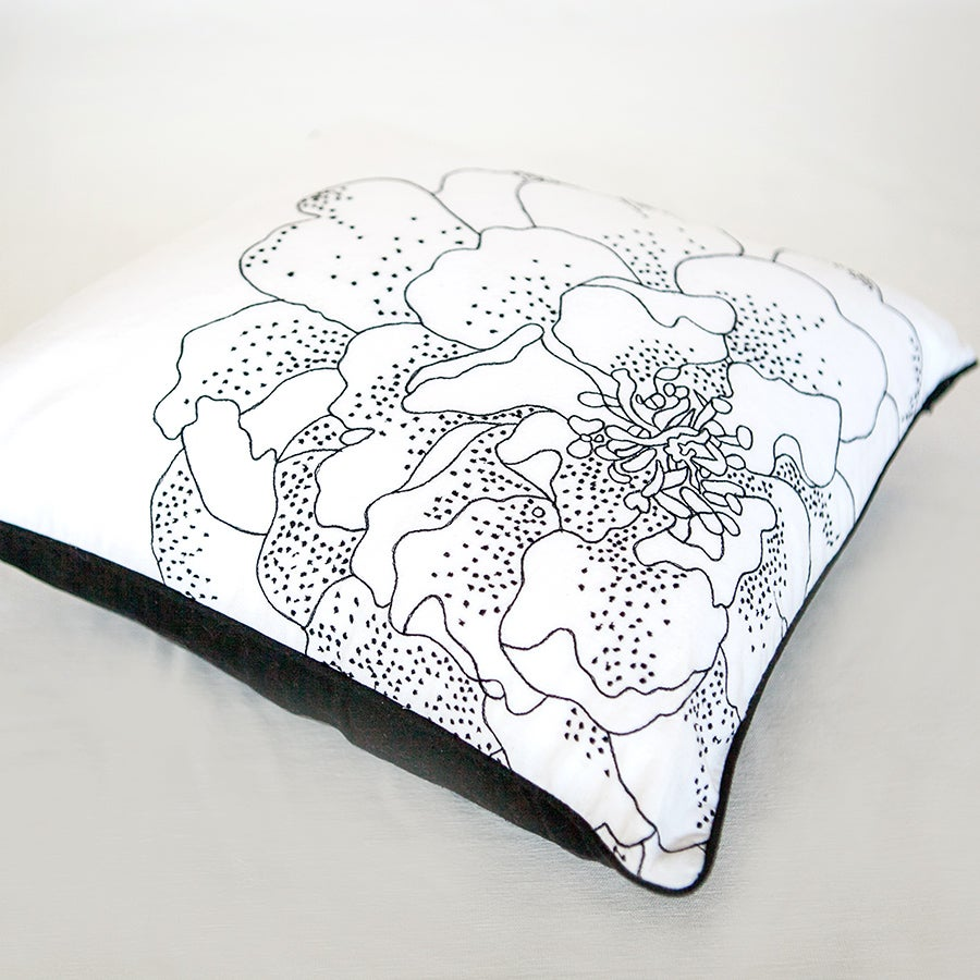 Image of Floral black & White Cushion
