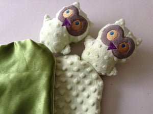 Image of Owl lovie-security blanket-green owl lovey