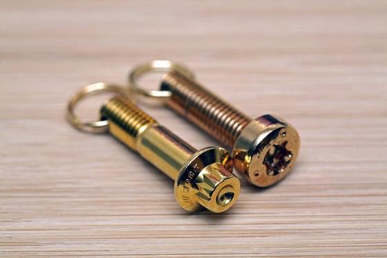 Image of WORK Wheels Keychain - Gold