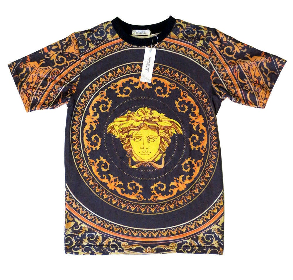 Image of  Authentic Baroque Versace T-Shirt With Medusa Head T-Shirt