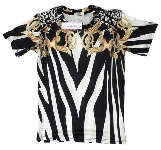 Image of Authentic Versace T-Shirt Gold Zebra Baroque T-Shirt