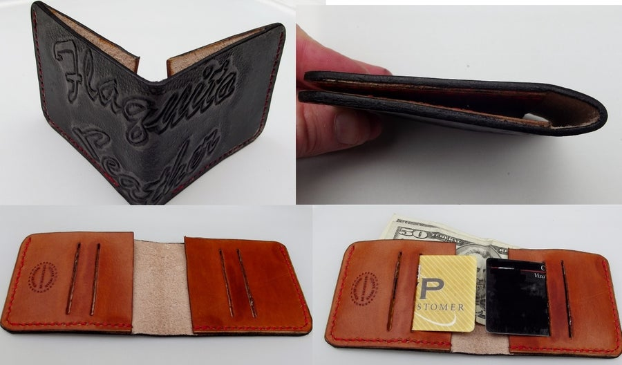 Image of Slim Minimalist Wallet. Front Pocket Wallet. Hand tooled, personalized. Your image/design or idea.