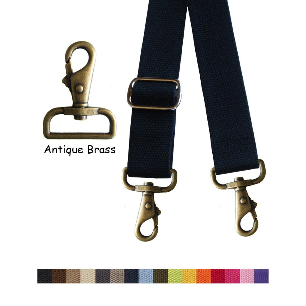 "Image of Cotton Canvas Webbing Strap - Adjustable - 1.5"" Wide - Choose Color & Length - Antique Brass Hook #6"