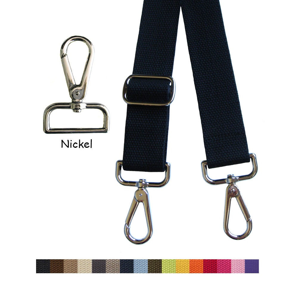 "Image of Cotton Canvas Webbing Strap - Adjustable - 1.5"" Wide - Choice of Color & Length - Nickel Hook #14"