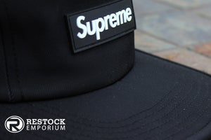 Image of Supreme - Black Rubber Logo Camp Cap