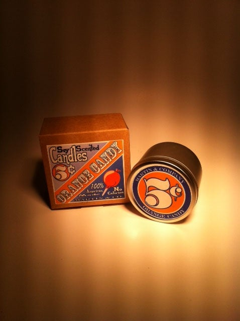 Image of 4 oz Soy Orange Candy Candle