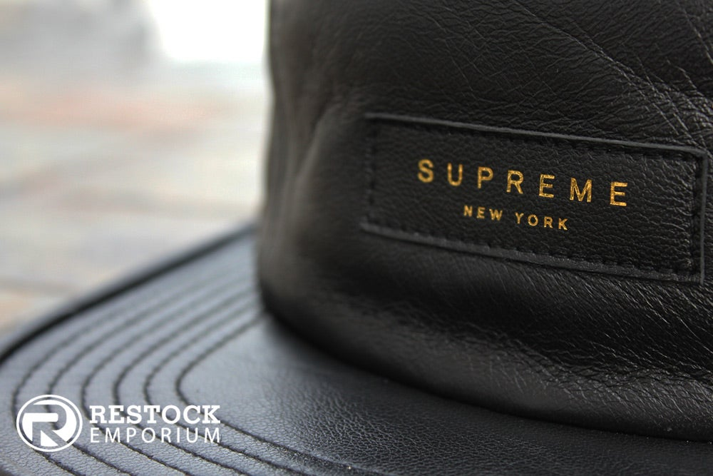 Image of Supreme – Black Leather Camp Cap