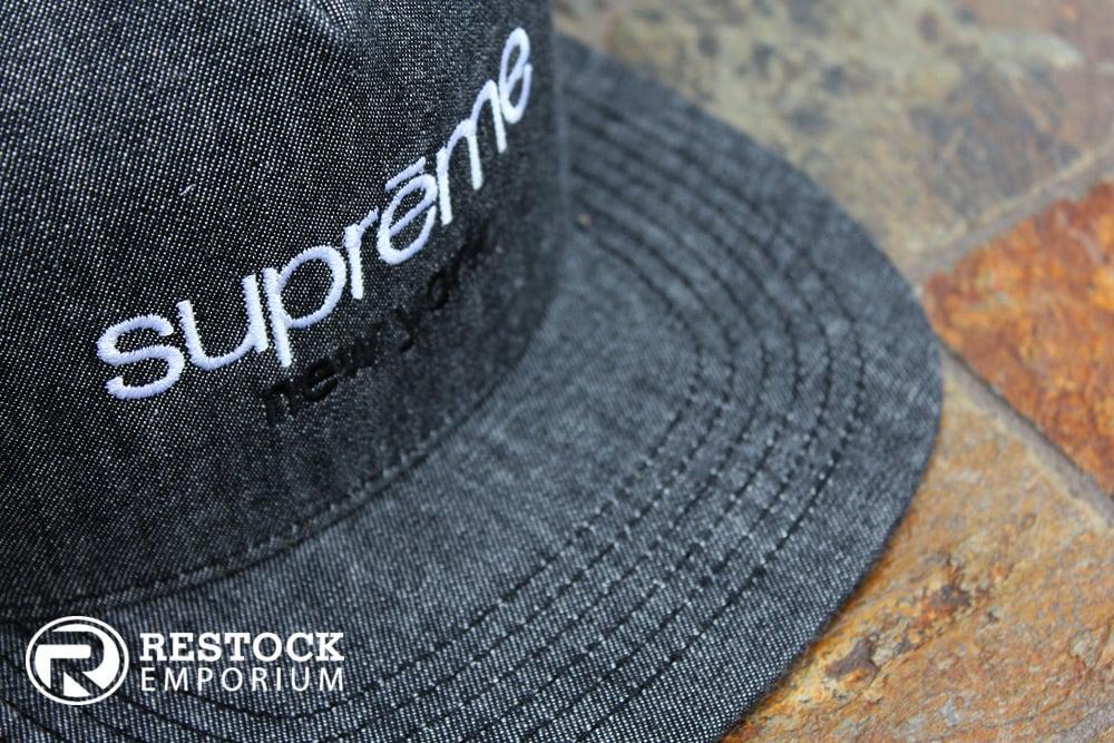 Image of Supreme - Classic Logo Denim 5-Panel - Black Denim