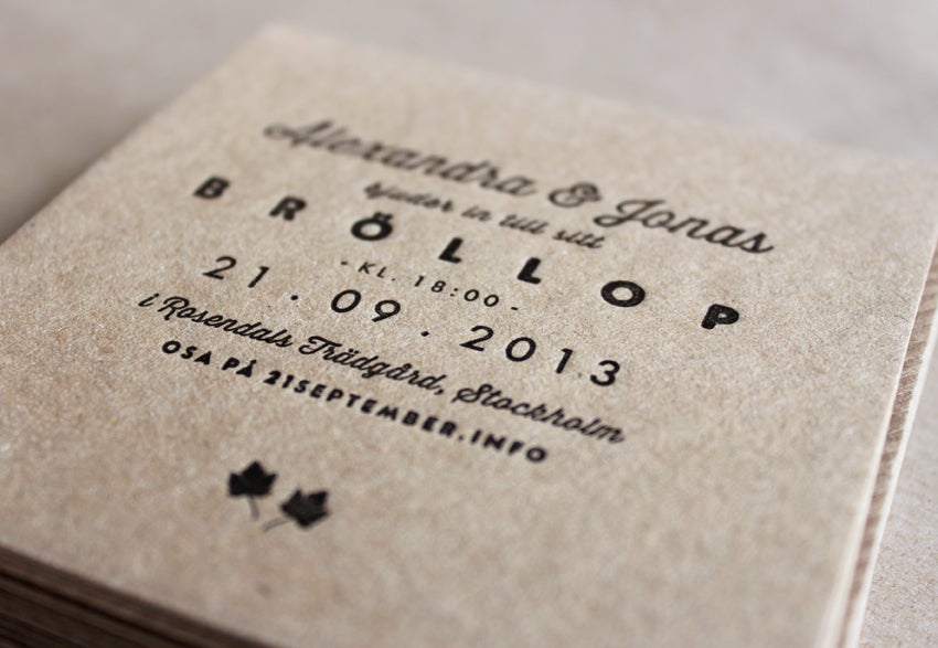 Image of Sample - Wedding Invitations (letterpress printed)