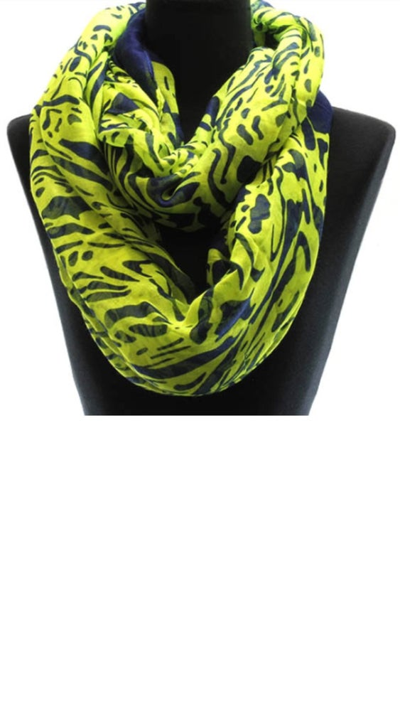 Image of Key Lime Animal Print Infinity Scarf