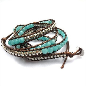 Image of Beach Beaded Wrap Bracelet in Aqua/Silver