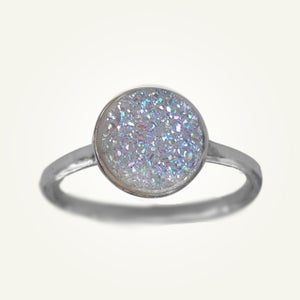 Image of White Druzy Ring, Sterling Silver