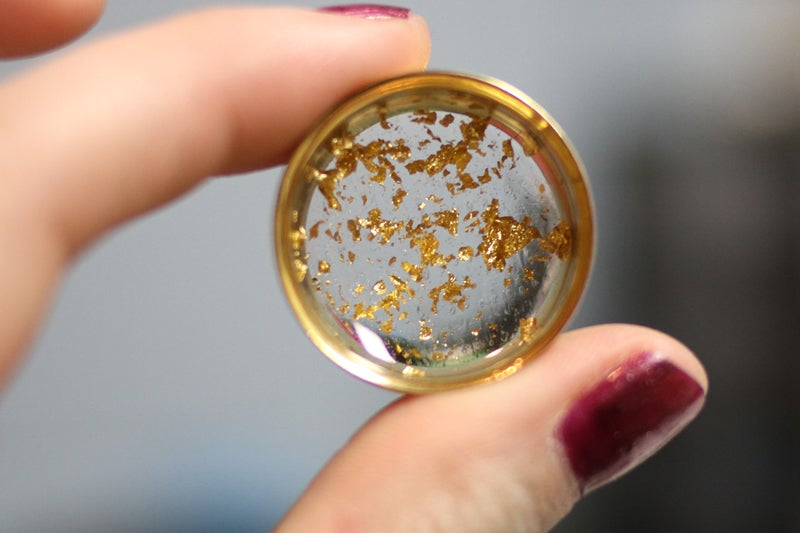 "Image of Gold Flake Plugs (sizes 0g-2"")"