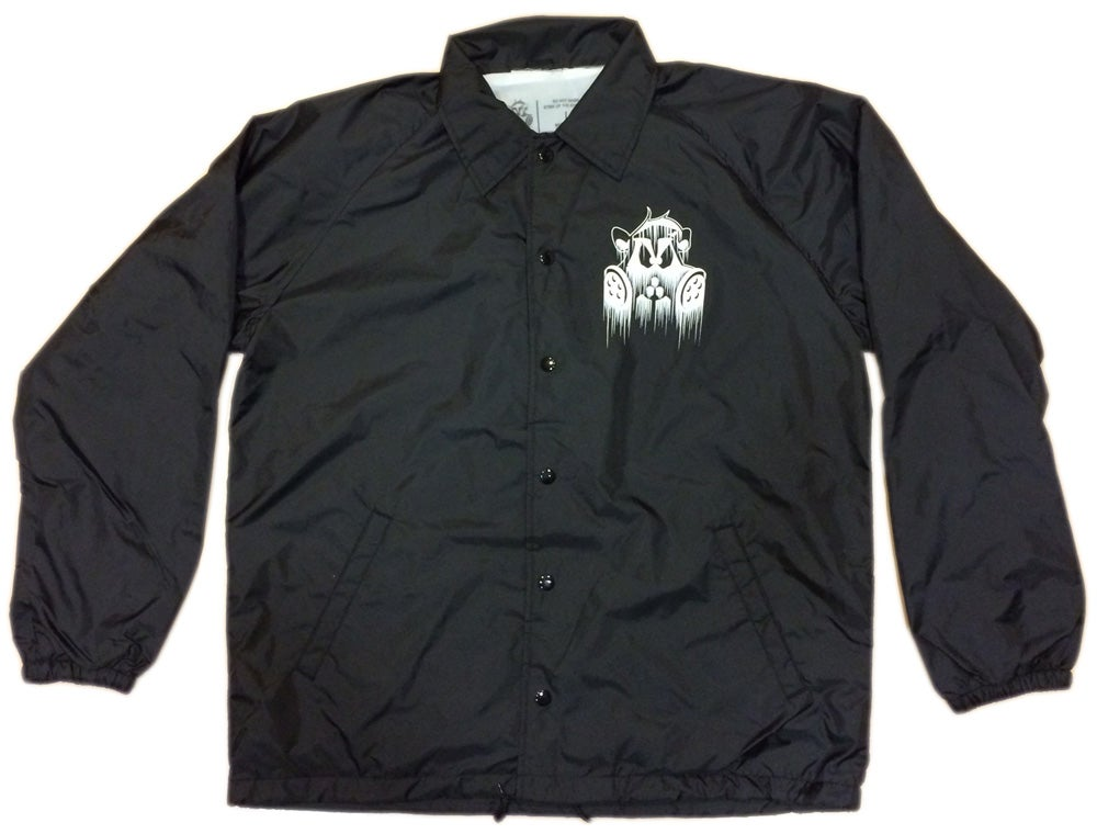Image of Dripped Coach Jacket   BLACK