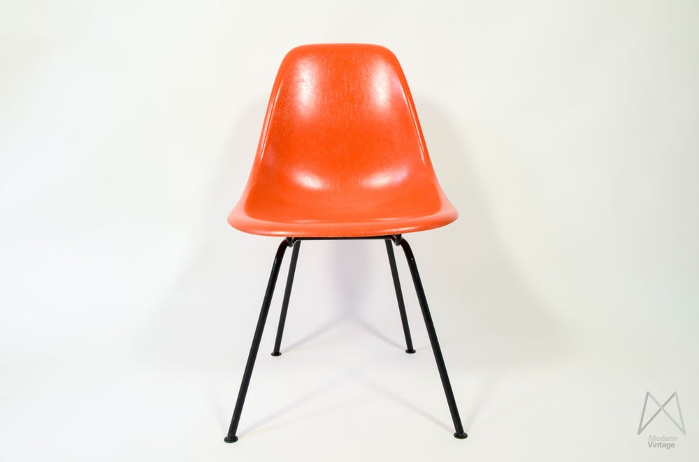 image of eames herman miller dsx dsr dsw red orange chaise polyester - Chaise Orange