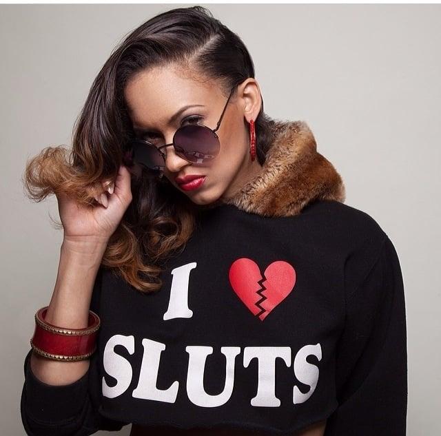 Image of Blk Cropped I Love Sluts Hoodie