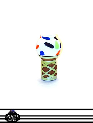 Image of Chad G Vanilla Ice Cream Cone Glass Sculpture With Extra Sprinkles