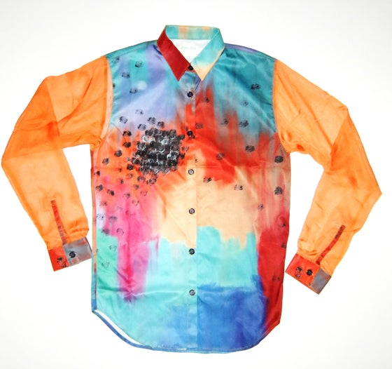 Image of Rainbow Loose Shirt with Chiffron Sleeves