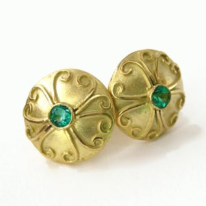 Image of Emerald Antique Disc Earrings 18k