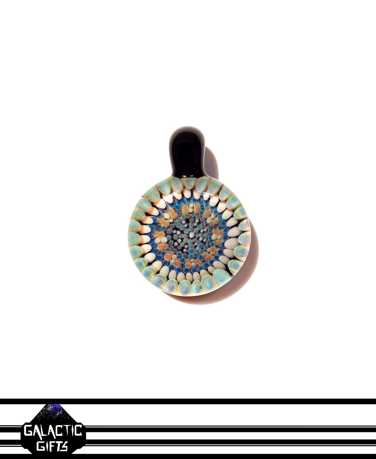 Image of Zach Strasburg Peach, Blue, Cream & Orange Geometric Dot Work Pendant