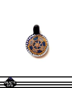 Image of Zach Strasburg White, Blue & Orange Geometric Dot Work Pendant