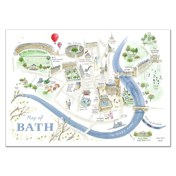 852 Bathtub Data Base Emails Contact Us Hk Mail: Alice Tait 'Map Of Bath' Print