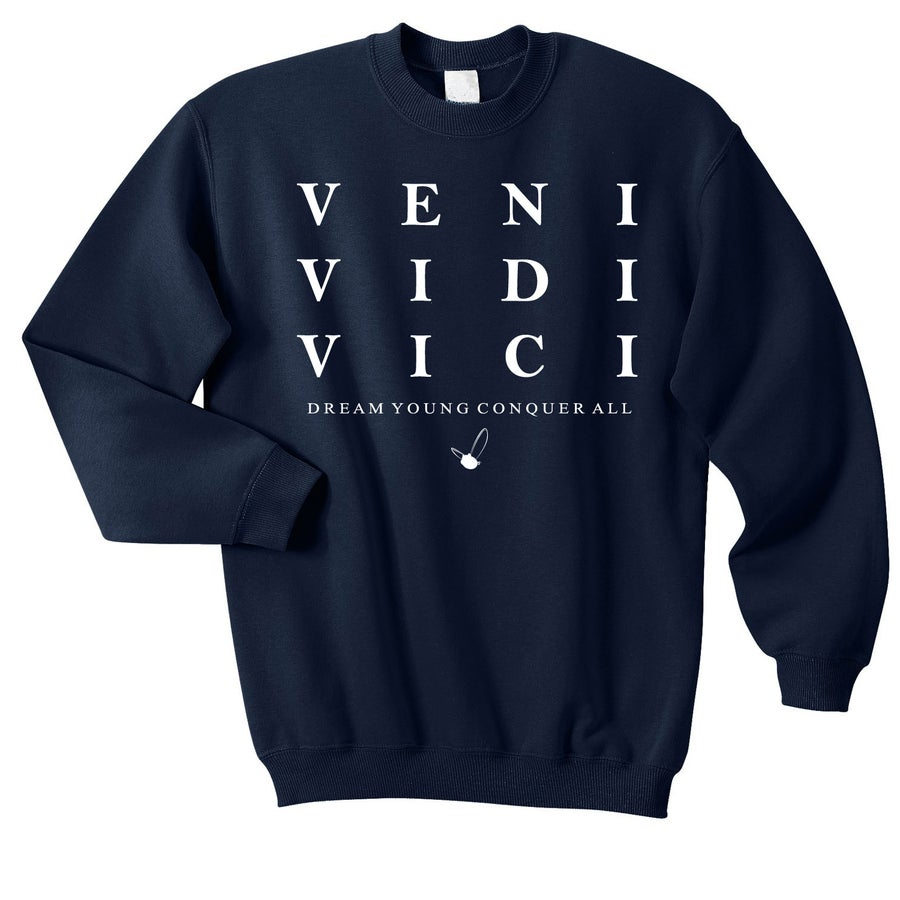 "Image of ""VENI VIDI VICI"" NAVY BLUE/CREW NECK"
