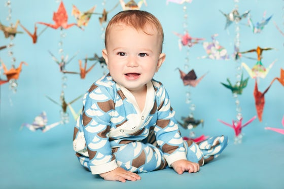 Image of Blue Fans Footed Romper