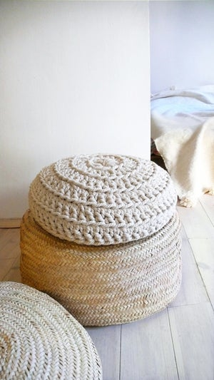 Image of Floor Cushion Crochet - Thick Cotton Ecru