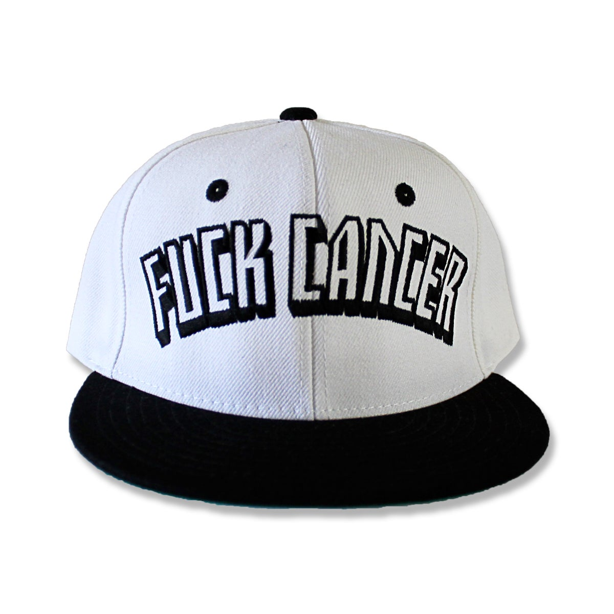 Image of WHITE FUCK CANCER SNAPBACK