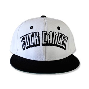 Image of WHITE FUCK CANCER SNAPBACK
