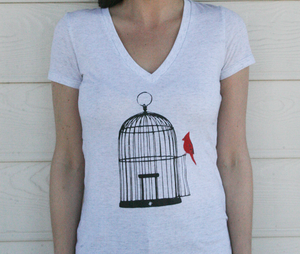 Image of Vacant Birdcage - White Fleck (W)
