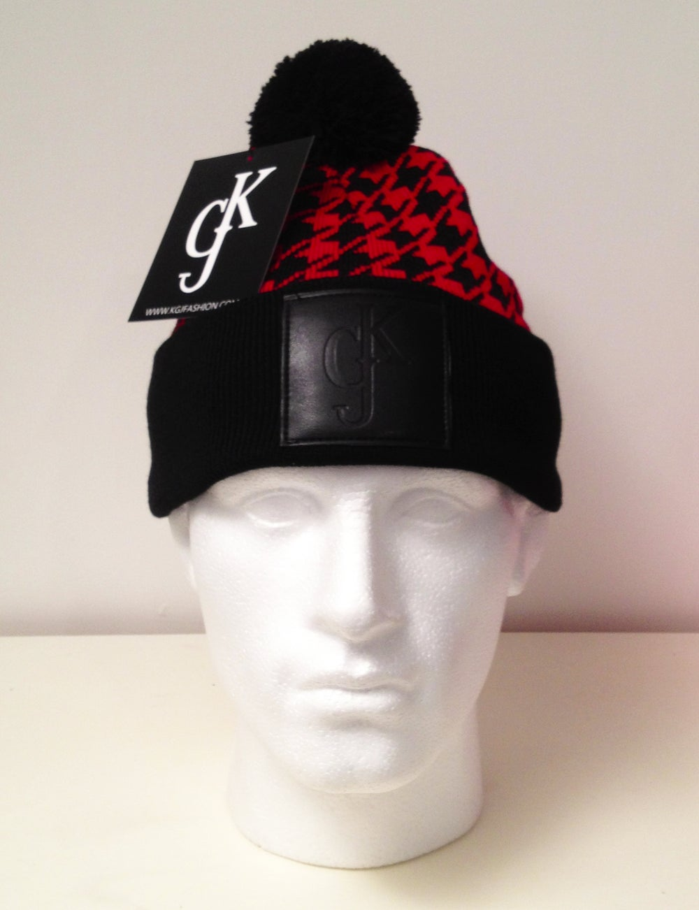 Image of KGJ Fashion Dogtooth Beanie - Black & Red