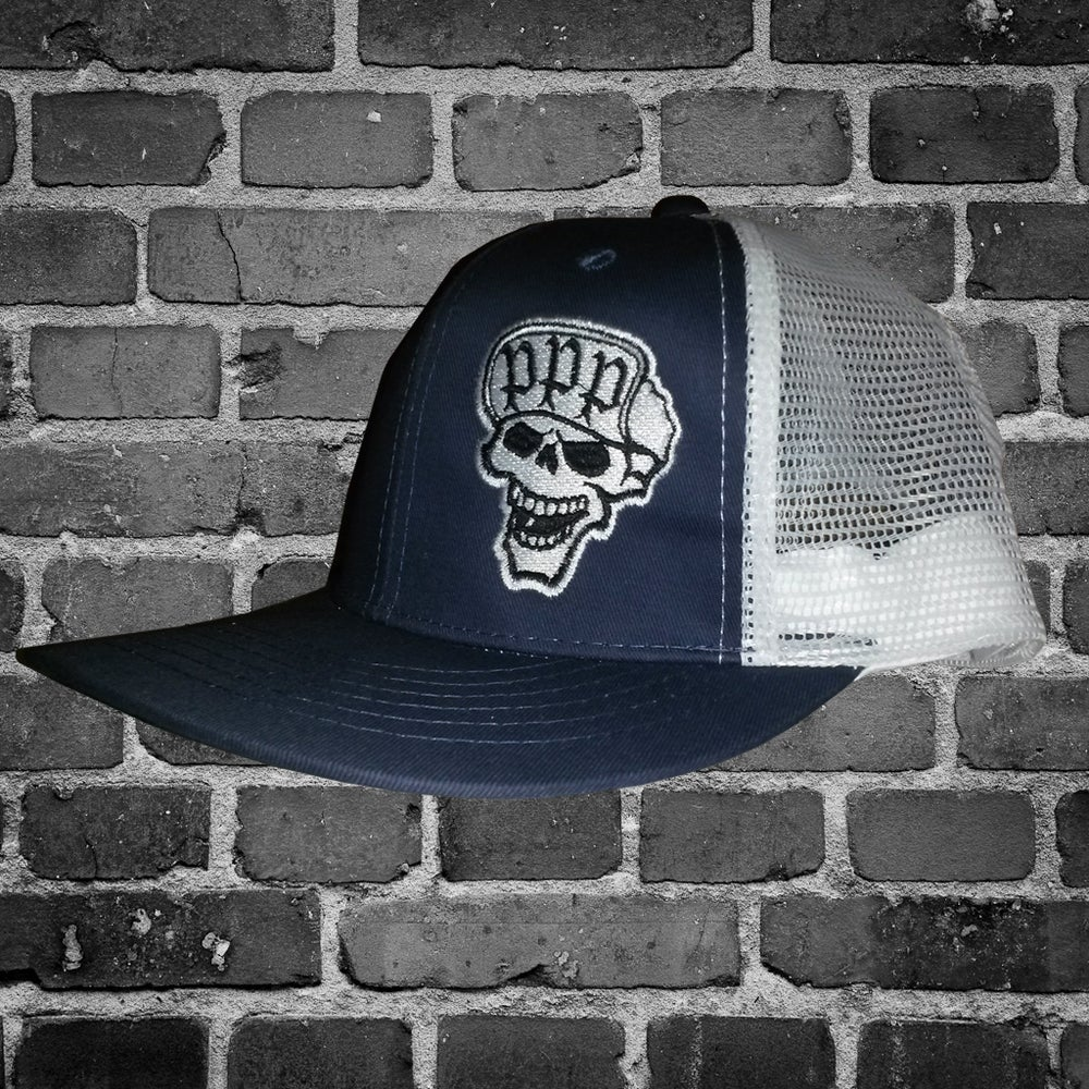 Image of Blue/White Skull Trucker Flip Cap